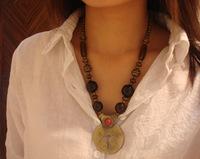 Tibetan metal pendant necklace women wood beads necklace