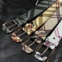 Male strap plaid leather belts women's pin buckle plaid belts
