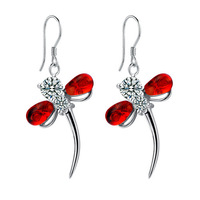 925 pure silver platinum red crystal dragonfly pure silver earrings women's drop earring birthday gift earring