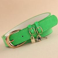 2014 candy color key pendant belt japanned leather belt women's sweet jeans belt female