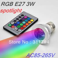 2X/ RGB GU10 3W  E27 GU10 MR16 Remote Control RGB LED Bulb Spot Light  Color Changing Lamp warranty Free shipping