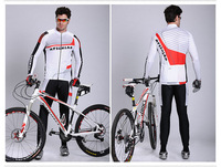 Free shipping Wholesale full Sleeve Cycling Jersey+(Bib) Shorts Bike Wear /Reflective strips,longer back hem,top grade 2034