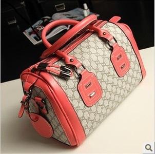 PU Leather With Canvas Boston Bag,Handbag,Shoulder Bag Messenger Bag,Pillow Bag,Free Shipping