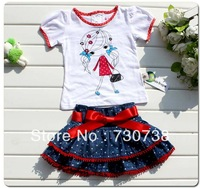 Free shipping Retail Girls Baby Kids Top T-Shirt+Skirt 2PCS Outfit Set 1-6Y Lovely Leisure Clothing Costume Summer Toddler Dress