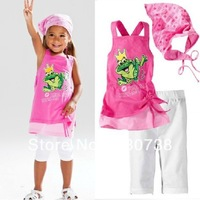 3cartoon frog Prince Charming childrens clothing set 3 pcs suit girl's Beach strap shirt + pants + headband whole suits outfits