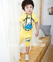 3Wholesale 2013 NEW Style for 1pcs/set Smurfss cartoon hoodie + shorts two-piece suit children WITH Free shipping