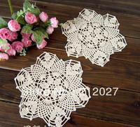 Free shipping wholesale 100% cotton hand made Crochet cup mat,Ecru Doily 22CMX22CM 12PCS/LOT