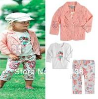 Free shipping(5pieces/lot)Children's Outfits & Sets gir's pink lace coat+t-shirt+pants suits 3 pcs sets Spring/autumn