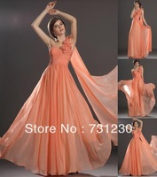 Free Shipping Modern Elegant One Shoulder Chiffon Evening Dresses