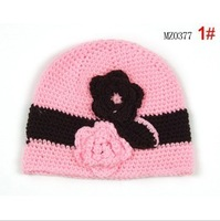 New Arrival Korean Nice Lady Style Two Flowers Ornament Girls' Beanies Handmade Knitting Caps for Infants Good Gift