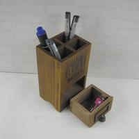 Pen fashion wool desktop storage box round  retro solid wood finishing