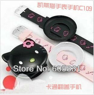 2013 Newest fashion watch Cartoon Mobile phone for kids Hello Kitty C109 single card Unlocked GSM cell phone Free Shipping(China (Mainland))