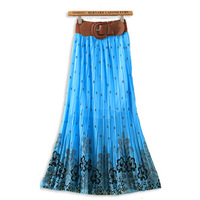 2014 New Ladies Pleated Floral Print Bowknot Belt Chiffon Long Maxi Dress