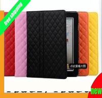Free Shipping,PU Quilted Leather Case For iPad 2, Hand Carry Smart Cover Cute Pretty Sleeve For iPad 2 With Stand