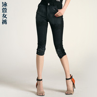 Pants 2013 plus size clothing summer mm slim elastic high waist jeans capris patchwork