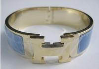 Fashion button titanium steel enamel bangle bracelet Blue /Golden