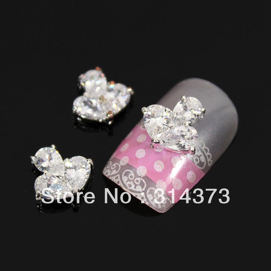 100 pcs / lot 11x11mm Bling Charm Clear Crystal Rhinestones Zircon Nail Art 3D Tips DIY Design Phone Craft Cover Case Decoration(China (Mainland))