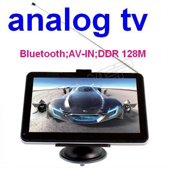 New 7 Inch Car GPS Navigation+ Analog TV + Bluetooth + AV-IN + 4GB 3D Map Free Ship(China (Mainland))