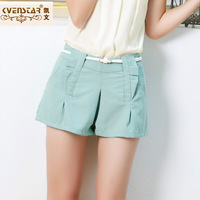 2013 summer women's solid color casual short trousers thin female mid waist shorts n9081