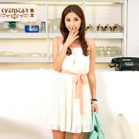 2013 female lacing colorant match pleated chiffon short sleeveless vest one-piece dress q9538