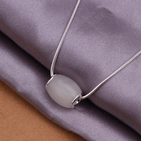 Newest 925 Sterling Silver Plated Women Pendant Necklaces Free Shipping Nickel Free Jewelry SN349