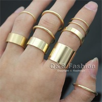Pack of 10 Chic Gold Stacking Plain Band Midi Mid Smooth Finger Ring Fancy Dress Jewelry Free Shipping