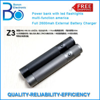 Z3 Power bank with led flashlights multi-function america Q5 lights Full 2600mah External Battery Charger HK POST SHIPPING FREE