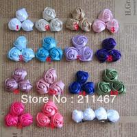 Mix color 100pcs 2cm Mini Sation Rose Flowers DIY Children Hairband Accessories