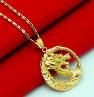 fashion yellow gold filled necklace dragon  pendant