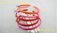 2013 new wholesale free shipping solid satin headbands 7mm plastic headbands,50pieces/lot