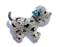 New Fashion Lovely 6 Colours Optional Dog Brooch Gorgeous Rhinestone Crystal White Gold Plating Popular abridal