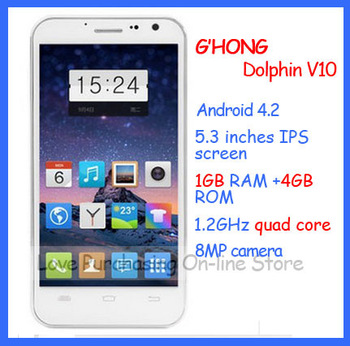 HongKong Post free shipping Original Quad core MTK6589T Turbo 5.3 '' Android 4.2  3G IPS dual sim 8MP Gphone  V10 smart phone