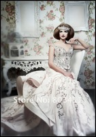 2013 Expensive Luxury Advanced Customize Empire Heavily Beaded Cathedral Train Queen Style Wedding Gown Bridal Dress