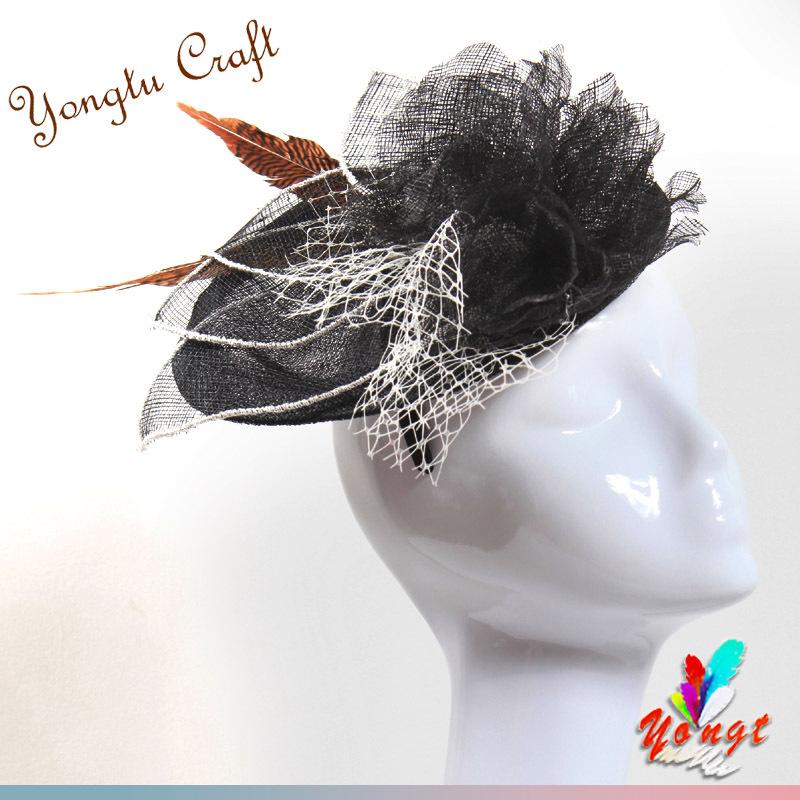 EMS free 2015 elegant sinamay flower fascinator hair accessory feather sinamay base fascinator bridal mini hat wedding party(China (Mainland))