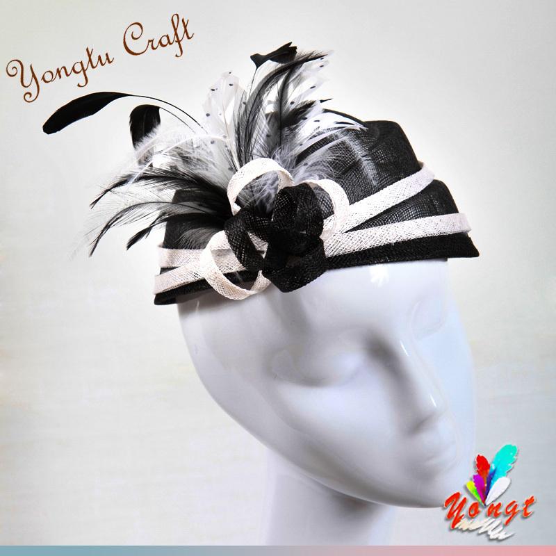 EMS free 2015 wedding sinamay flower fascinator hair accessory feather sinamay base fascinator bridal mini hat wedding party(China (Mainland))