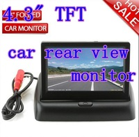 "2pcs/lot 4.3"" TFT HD foldable LCD dashboard car rear view monitor reverse camera DVD CCTV Freeshipping"