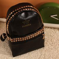 Free Shipping 2013 women's handbag backpack school bag double backpack rivet bag casual bag