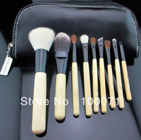 Wholesale New arrival HOT Facail Care Facial Beauty Makeup Brush 9 Pieces+with Mirror Pouch Leather Case Bag#13007