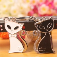 K57 Cat Black And White Cat  Couple Key Chain Promotional Keyring Wholesale  6Pieces/ 3pairs/ Lot Free Shipping