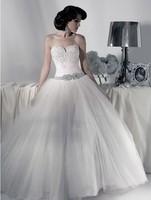 2013 Top Fashion Customize Sweetheart Beading Crystal Waistline Flower Ball Gown Wedding Dress