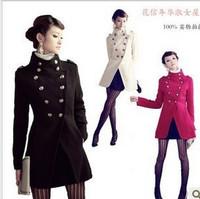 Women coat fashion overcoat/military uniform double breasted winter coat /jacket outerwear/Military style Jacket M-XL