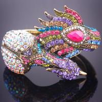 Min.order $10( Mix order)Mulit Peacock Peafowl Cuff Jewelry Rhinestone Crystal Bracelet Bangle 004