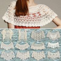 Womens Ladies Lace Hollow Crochet Knit Cape Shawl Tank Top Vest Jumper Pullover