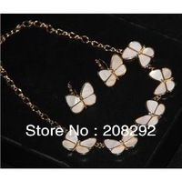 Free shipping~Shell Butterfly Necklace Earring Set 3sets/lot