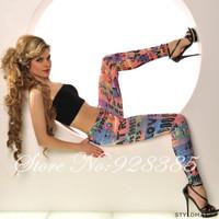 Fashion Rainbow Letter Leggings Woman Stylish Printed Leggins Stretchy Pants Free Shipping # BS029