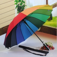 1pcs free shipping high quality Long handle Straight rainbow umbrella 16k protection SS0493