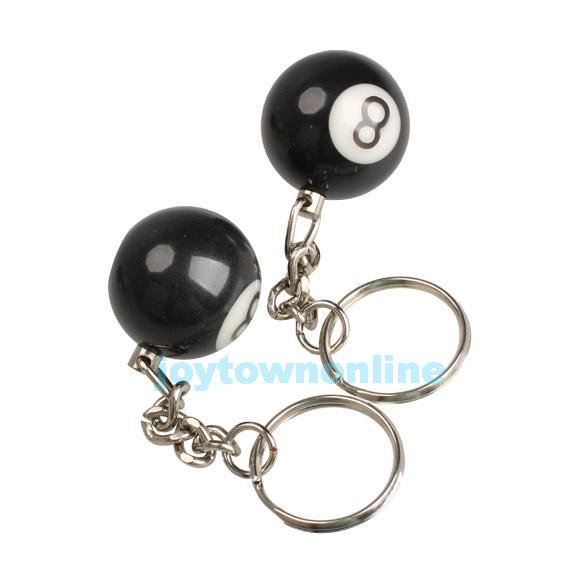 2pcs Billiard Pool Keychain Snooker Table Ball Key Ring Gift Lucky NO.8 #1JT(China (Mainland))