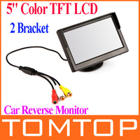 """5"""" Digital Color TFT 16:9 LCD 5'' Car Monitor Reverse with 2 Bracket holder for Rearview Camera DVD VCR Multi-language Russian"""