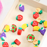 50pcs New Novelty Students Children Lovely Colorful Fruit Pencil Rubber Eraser Free Shipping