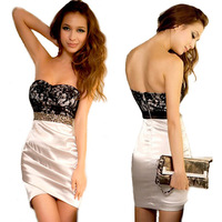 Free Shipping NEW Sweetheart Lace Women Strapless Mini Dress Shiny Jewels Party Sexy Charming Wholesale and retail